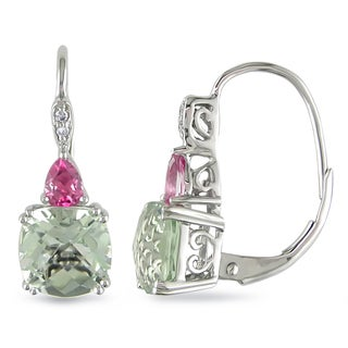 Miadora 10k White Gold Green Amethyst and Pink Topaz with Diamond Accent Earrings