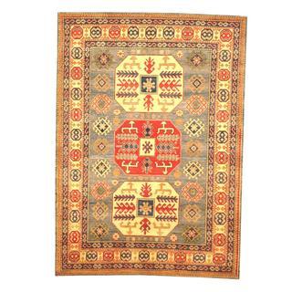 Herat Oriental Afghan Hand-knotted Tribal Kazak Light Blue/ Beige Wool Rug (4'11 x 6'11)