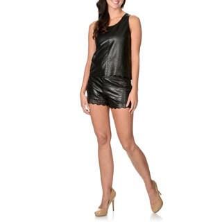Endless Rose Women's Black Faux Leather Laser-cut Scallop Hem Tank Top