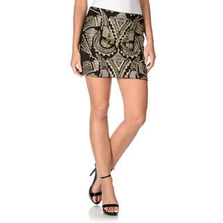 Endless Rose Women's Tribal Metallic Embroidered Mini Skirt