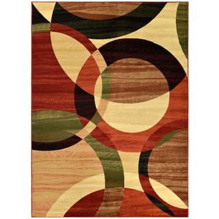 Manhattan Collection Circles Design Area Rug (5'3 x 7'3)