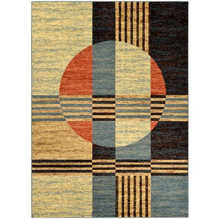Manhattan Collection Multi-Color Copper Contemporary Abstract Design High Quality Area Rug (5'3 x 7'3