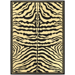 Manhattan Collection Black and Beige Animal Print Zebra Design High Quality Area Rug (5'3 x 7'3)