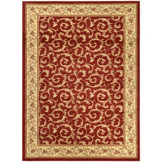 Sapphire Collection Dark Red Traditional European Design High Quality Area Rug (5'3 x 7'3)
