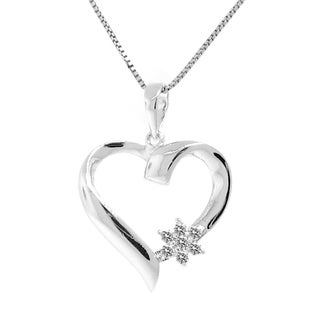 Gioelli Sterling Silver Diamond Accent Flower Heart Necklace