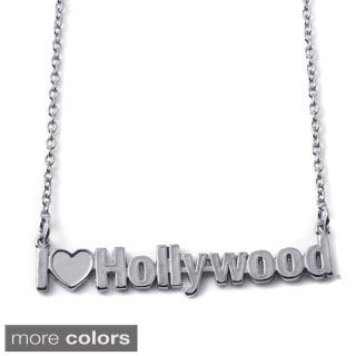 Gold Over Silver or Sterling Silver I Love Hollywood City Nameplate Necklace