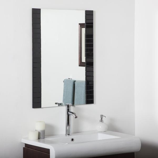 Black Beveled Bathroom Mirror