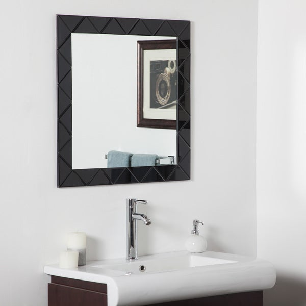 Luciano Black Frameless Wall Mirror (As Is Item) 31419734