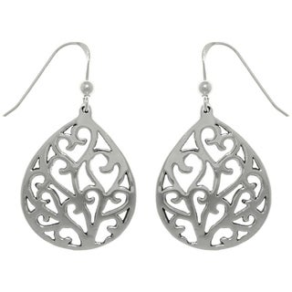 CGC Sterling Silver Heart Vine Teardrop Dangle Earrings