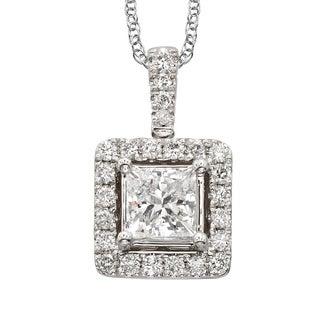 Sofia 18k White Gold 1ct TDW White Diamond Halo 18-inch Necklace (E-F, SI1-SI2)
