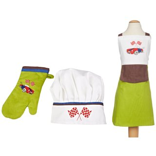 MUkitchen MiniMu Roadster Kids 3-piece Apron Set