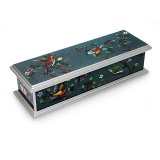 Handcrafted Reverse Painted Glass 'Spring Romance' Jewelry Box (Peru)