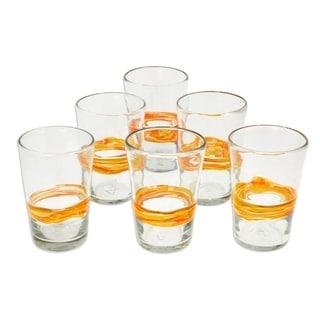 Set of 6 Blown Glass 'Ribbon of Sunshine' Tumbler Glasses (Mexico)