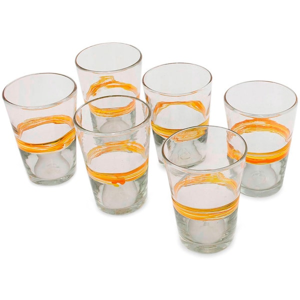 Ribbon of Sunshine Tumblers Clear Orange Band Set of Six Barware Tableware Hostess Gift Handblown Drinking Glass... (As Is Item)