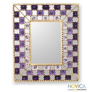 Mohena Wood Reverse Painted Glass 'Golden Lilacs' Mirror (Peru)