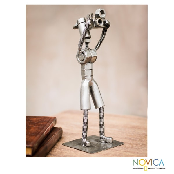 Handcrafted Recycled Metal 'The Tourist' Sculpture (Peru)
