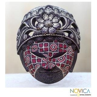 Handcrafted Pule Wood 'Raden Ayu' Batik Mask (Indonesia)