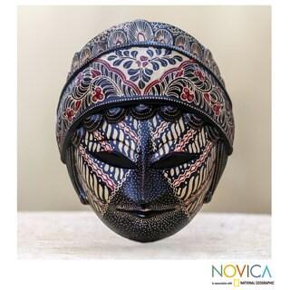 Handcrafted Pule Wood 'Raden Ajeng' Batik Mask (Indonesia)