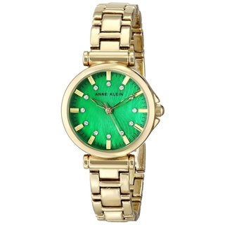 Anne Klein Women's AK-1622GMGB Crystal-accented Green Dial Goldtone Watch