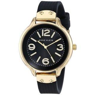 Anne Klein Women's AK-1614GPBK Black Silicone Watch