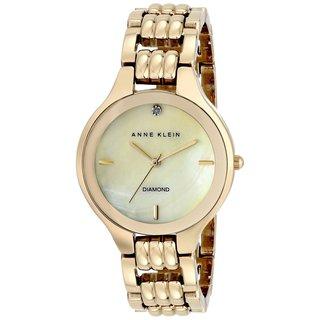Anne Klein Women's AK-1488CMGB Diamond Dial Goldtone Watch