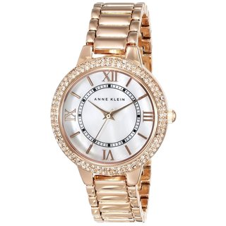 Anne Klein Women's AK-1498MPRG Crystal-accented Rose Goldtone Watch