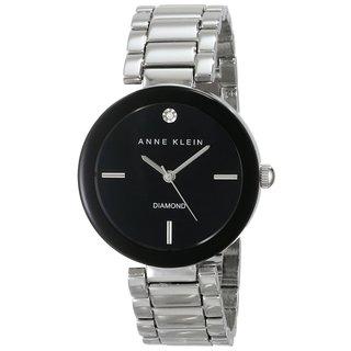 Anne Klein Women's AK-1363BKSV Diamond-accented Black Dial Silvertone Watch