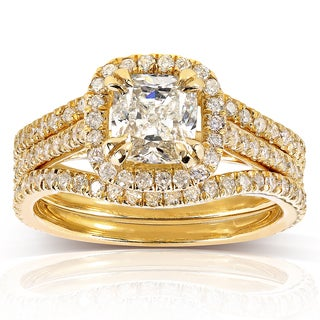 Annello 14k Yellow Gold 1 3/4ct TDW Cushion-cut Halo Diamond 3-piece Bridal Set (H-I, SI1-SI2)