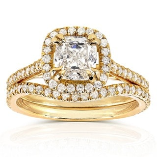 Annello 14k Yellow Gold 1 1/2ct TDW Cushion-cut Halo Diamond Bridal Ring Set (H-I, SI1-SI2)