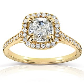 Annello 14k Yellow Gold 1 1/3ct TDW Cushion-cut Diamond Halo Engagement Ring (H-I, I1-I2)