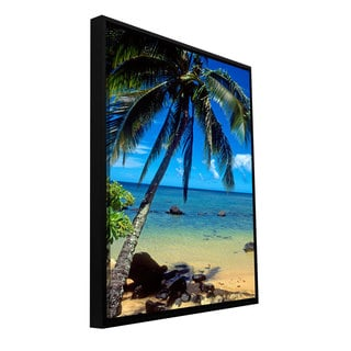 Kathy Yates 'Beautiful Amini Beach' Floater-framed Gallery-wrapped Canvas