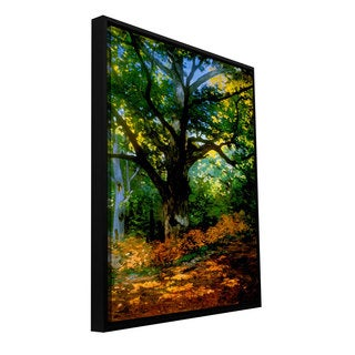 Claude Monet 'Bodmer at Oak at Fountainbleau' Floater-framed Gallery-wrapped Canvas