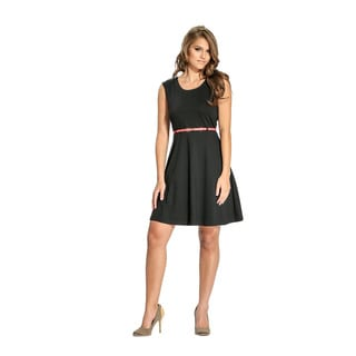 Amelia Women's Black Belted Fit-and-Flare Dress
