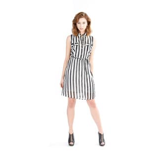 El Chic Women's Black and White Striped Belted Dress