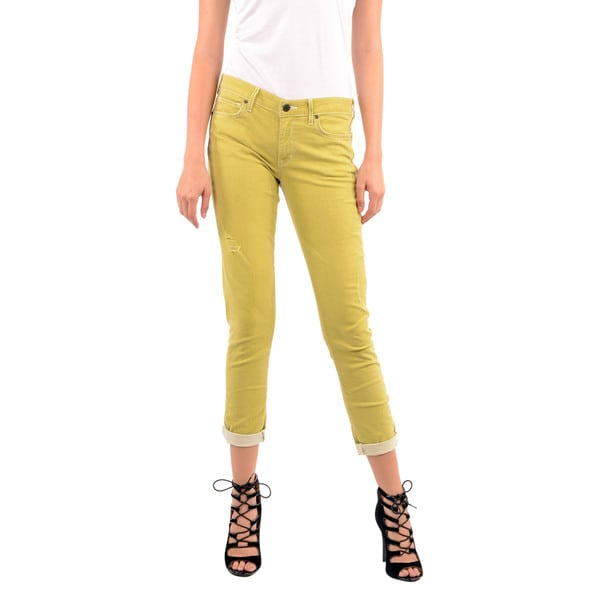 Rich & Skinny Women's Honeydew Yellow Relaxed Rolled Jeans