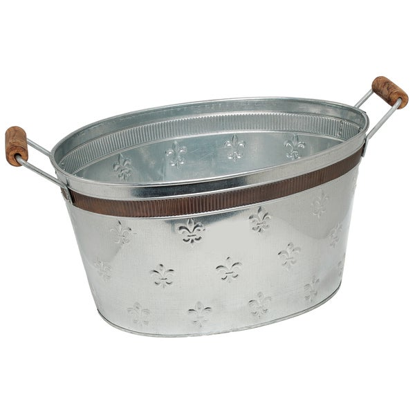 Fleur de lis oval tub with copper band for Oval garden tub