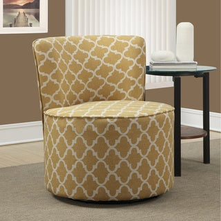 Gold Lantern Fabric Round Accent Swivel Chair