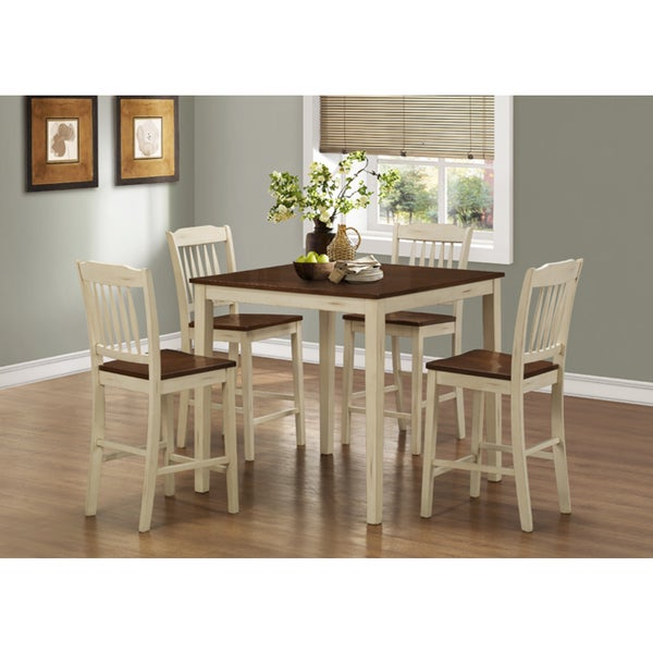 Counter Height White Dining Set : Mahogany Counter Height Table and 4 Dinette Chairs 5-piece Dining Set