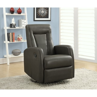 Charcoal Grey Bonded Leather Swivel Rocker Reclining Chair