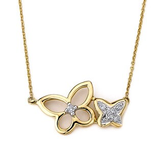 Diamonds For A Cure 14k Yellow Gold Diamond Accent Butterfly Necklace