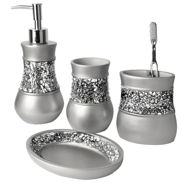 Silver glitter bath ensemble set metallic bathroom for Silver crackle glass bathroom accessories