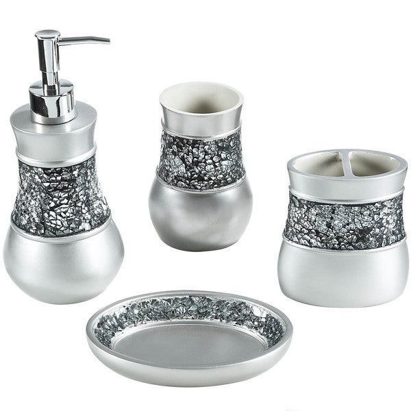 Crackled glass nickel 4 piece bath accessory set for Glass bathroom accessories sets