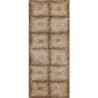 Beige and Brown Shiny Checkered Shag Rug (2.3' x 4')