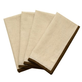 Brown Piped Border Dinner Napkins