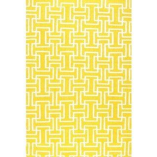 Hand-knotted Geometric Lemon Wool Area Rug (2' x 3')