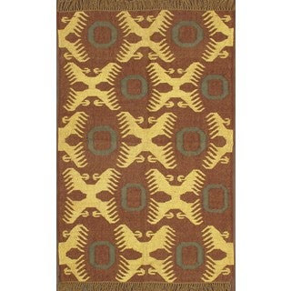 Southwestern Hand-knotted Brown Area Rug (4' x 6')
