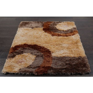 Cozy Shag Rug in Beige and Brown (4' x 5'11)