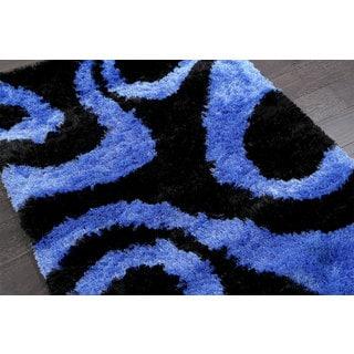 Exotic Blue /Black Shag (4'1 x 5'7)