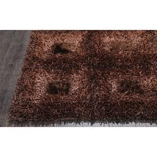Brown Shiny Checkered Shag Rug (2.3' x 4')