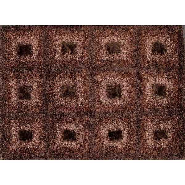 Brown Shiny Checkered Shag Rug (4.8' x 6.4')
